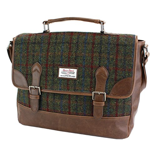 Harris Tweed Green & Red Tartan Briefcase by Harris Tweed