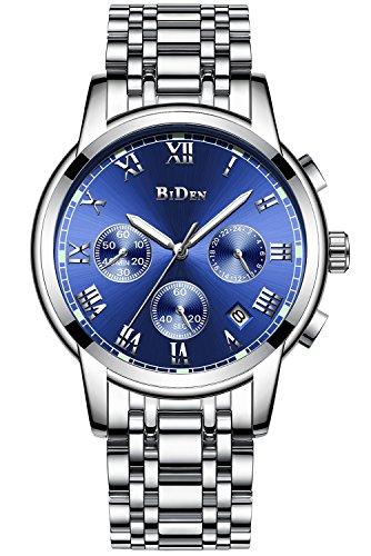 Herren Uhren Männer Chronograph Wasserdicht Datum Kalender Armbanduhr Analog Quarz Uhren Männlich Multifunktio Geschäft Lässig Luxus Edelstahl Uhr - Blau Sehen Leder-band Gesicht