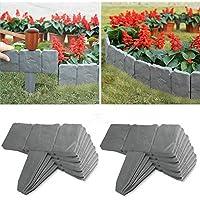 Ridecle 20 pezzi pannelli di recinzione effetto pietra giardino pieghevole erba prato bordi della pianta decorativo paesaggio percorso pannelli di recinzione guardia per bordi lunghi 5 m / 16 piedi