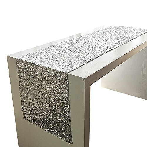 schläufer / Tischdecke für Hochzeiten Geburtstage und Partei Dekoration 28x180cm - Silber (Sweet Sixteen Tisch Dekorationen)