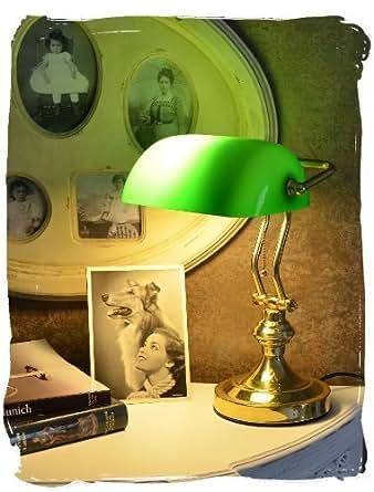 lampe de bureau pour biblioth que banque bureau classique style art nouveau avec verre en vert. Black Bedroom Furniture Sets. Home Design Ideas