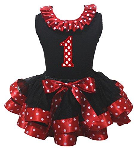 Farbband, Schwarz Tutu (petitebelle Geburtstag 1. Shirt rot weiß Dots Farbband schwarz Blütenblatt Rock nb-8y Gr. Größe L, schwarz / rot)