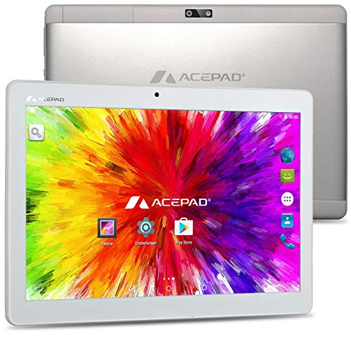 "ACEPAD A121 (10.1"") 3G Tablet PC, 2GB RAM, 64GB Speicher, Android 9.0 Pie, Dual-SIM, IPS HD 1280x800, Quad Core CPU, WiFi/WLAN/Bluetooth, microUSB/microSD (Alu-Weiß/Silber)"