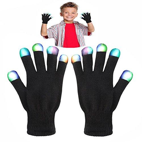 Geschenke für Kinder ab 6 - 10 Jahre, DMbaby Geschenke für Mädchen Jungs LED Blinklicht Bunte Rave Party Handschuhe G07