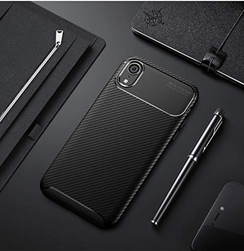 HHF Cases & Covers Für iPhone Xr, 3D Texture Slim Leichtgewichtige Gut konzipierte Kohlefaser-weiche TPU-Rückseite Shell-Hülle (Farbe : Schwarz) Rei Soft Shell