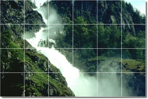 CASCADAS FOTO MURAL AZULEJOS MURAL 13  48X 182 88CM CON (24) 12X 12AZULEJOS DE CERAMICA