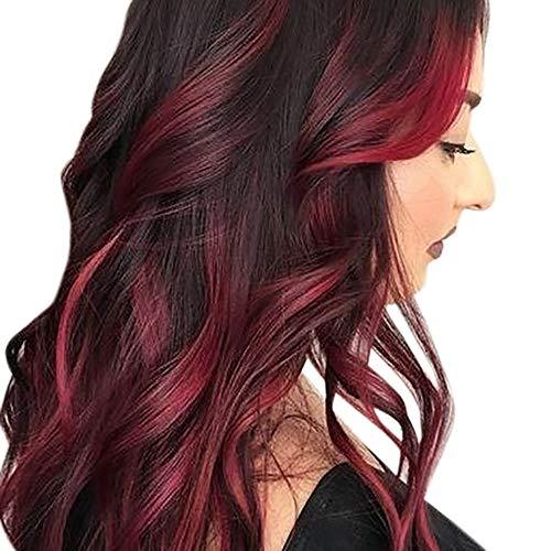 TIREOW Sexy Gradient Schwarz Rot Party Perücken Langes Lockiges Haar Mischfarben Synthetische Perücke