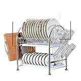 Panier à vaisselle en acier inoxydable/Doublevidangeégouttoir/Étagères de cuisine-E