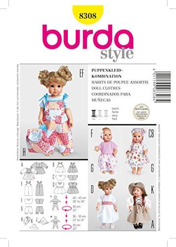 Burda B8308 - Cartamodelli per Vestitini da Bambola, Modelli Assortiti, 19 x 13 cm
