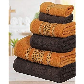Casabella Valentini Crystel Designer Towels 600 Gsm 6 Pcs Bale Towels Set Face Hand Bath/_Brown /& Beige/_6 Pieces Set