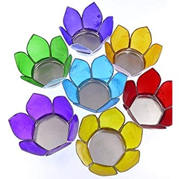 7 X Chakra Rainbow Lotus Flower Tealight Candle Holders Capuz Shell