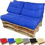proheim Palettenkissen Lounge Sitzkissen Paletten-Auflage Polster für Europaletten viele Varianten und Farben wählbar, Farbe:Blau, Variante:Langes Rückenkissen