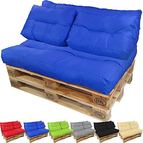 PROHEIM Palettenkissen Lounge langes Rückenkissen 120x40 cm Blau - Wasserabweisende Paletten-Auflage Polster für Europaletten Formstabil mit Wave-Steppung -