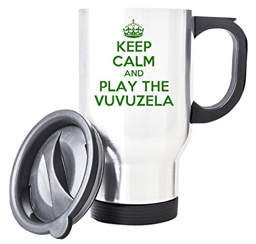 Duke Gifts Grün Keep Calm and Play die Vuvuzela weiß Thermobecher