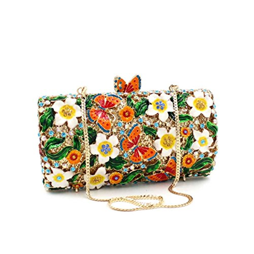 Handgemachte Abend Parteibeutel Handtasche Blumen Schmetterling Abendtasche Damen Tasche Multi