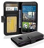 Cadorabo - Book Style Hülle für HTC ONE (M9 - 3.Generation) - Case Cover Schutzhülle Etui mit 3 Kartenfächern in OXID-SCHWARZ