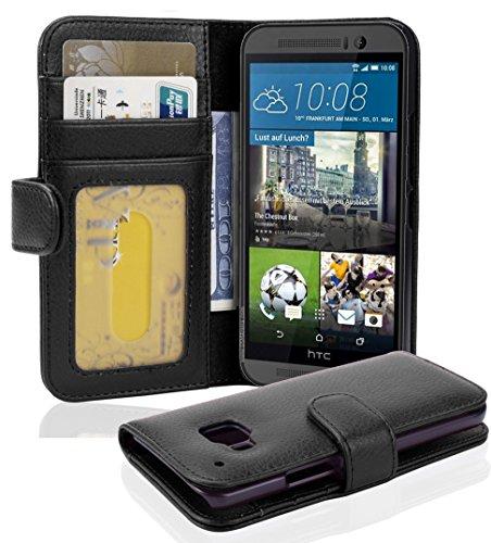 Cadorabo - Book Style Hülle für HTC ONE (M9-3.Generation) - Case Cover Schutzhülle Etui mit 3 Kartenfächern in Oxid-SCHWARZ