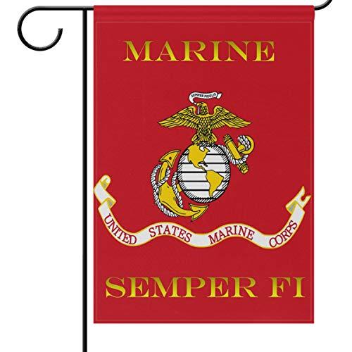 Wamika US Marines Corps Flagge, 12 x 18 doppelseitig, rot USMC Geburtstag Military Garten Hof Outdoor Haus Fahne Banner für Party Zuhause Dekoration, Polyester, Multi, 12x18in -