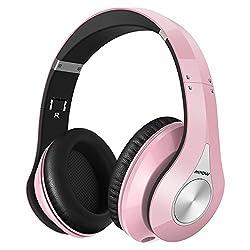 Mpow Bluetooth Headphones, Wireless Over Ear Headphones With Built-in Microphone, Adjustable & Foldable Bluetooth Headphones For Smartphone Tv Pc Laptop, (Pink & Black)
