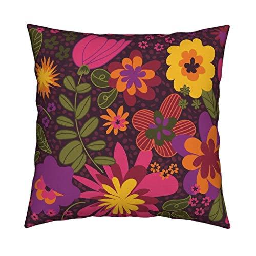 Se556th 1960er Jahre Floral Überwurfkissen Floral Mod Retro Flower Garden 18x18 Quadratisches Überwurfkissen -