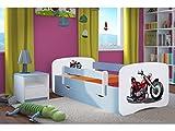 Kocot Kids Kinderbett Jugendbett 70x140 80x160 80x180 Blau mit Rausfallschutz Matratze Schubalde und Lattenrost Kinderbetten für Junge - Motor 160 cm