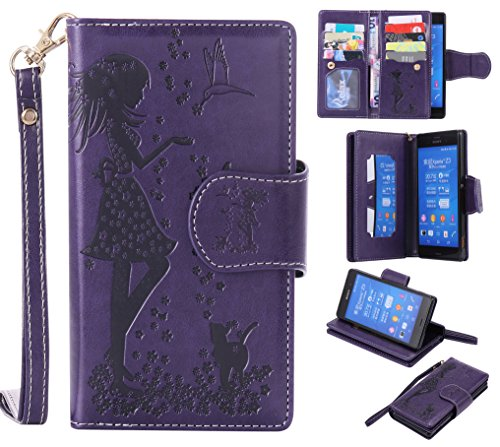 sony-xperia-z3-case-leather-cash-and-9-card-slots-cozy-hut-elegant-woman-and-cat-patterned-embossing
