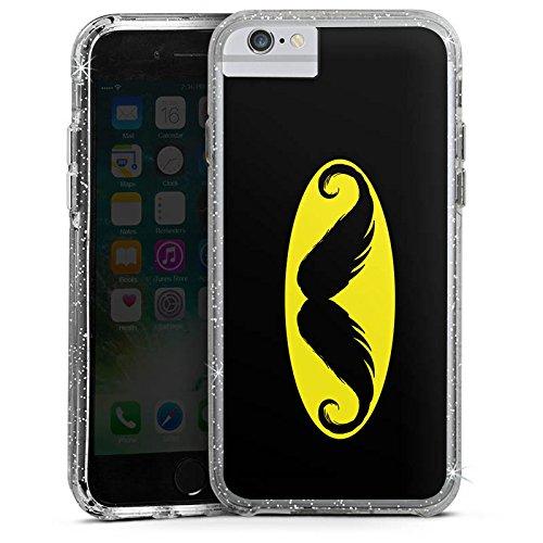 Apple iPhone X Bumper Hülle Bumper Case Glitzer Hülle Moustache Schnurrbart Batman Bumper Case Glitzer silber