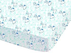 CTI 042745 Snoopy Wake Up Drap Housse  Coton Bleu 90 x 190 cm