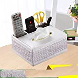 XBR Control remoto Multi - funcion de la toalla de papel servilleta Dibujo Dibujo de caja caja caja control remoto sala de estar sala de té mesa de té,Tejido blanco,20 * 16.5.9.5cm