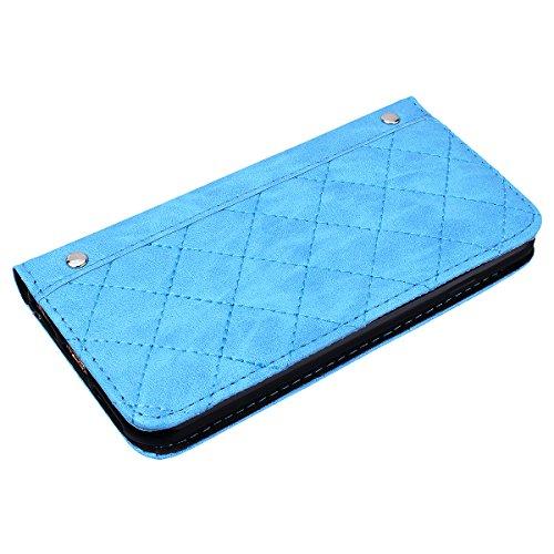 Coque iPhone 7, HB-Int Housse de Protection PU Cuir Portefeuille Case Cover Etui a Rabat Flip Antichoc Cas Couverture pour Apple iPhone 7 - Blanc Beige Bleu
