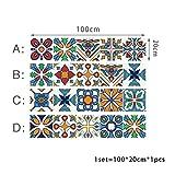 LIOOBO 4 pezzi adesivi murali colore piastrelle retrò - prodotto fai da te per la decorazione domestica - cuciture impermeabili rimovibili - per cucina bagno