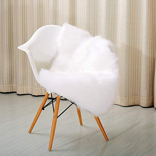 ux Schaffell Teppich Hohe Dichte Wolle Perfekt Stuhl Abdeckung Sitz Mats Sofa Werfen Decke Pads Gemütlich Plüsch-,White,60x90cm(24x35inch) ()