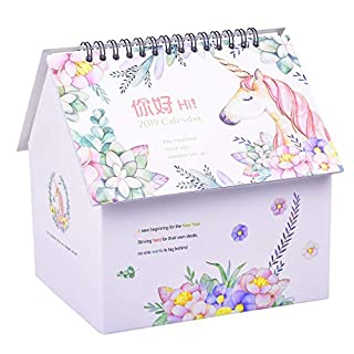 Rancco Desk Calendar Desktop Organizer to-Do List Pad 3 in 1, Colorful Painting Flip Monthly Calendar Pen Pencil Holder Cosmetic Storage Desk Caddy Organizer w/Memo Notepad for Office Supplies, Home