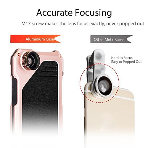 Arblove iPhone 8 ,iPhone 7 Kit Custodia Impermeabile Con 3 Lenti Cellulari,Ultra Sottile e leggero IP 54 360 Grado Alluminio Waterproof e Full Sealed Antiurto Antipolvere Cover Case per iPhone 8 ,iPho Gold Rosa