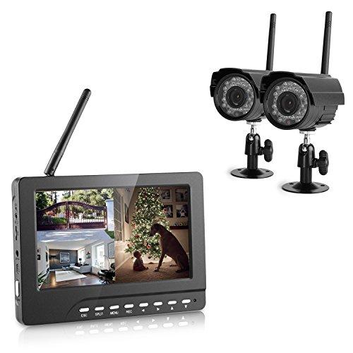 DVR KIT di Videosorveglianza, Yokkao® 1 Monitor 7 Pollici e 2 Telecamere DVR Wireless Digitale Supporta TF Scheda e Registrazione Circolare Sistema di Sicurezza Baby Camera