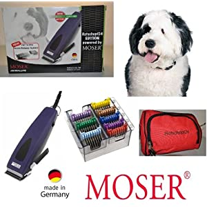 Moser Rotschopf24 Edition: Echte Premium Hunde - Schermaschine + acht Edelstahlaufsätze. Besonders stark und ratsam für dichtes/krauses /langes Fell. 40053