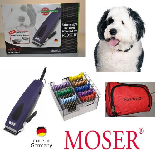Moser Rotschopf24 Edition: Echte Premium Hunde - Schermaschine + acht Edelstahlaufsätze. Besonders stark und ratsam für dichtes/krauses/langes Fell. 40053