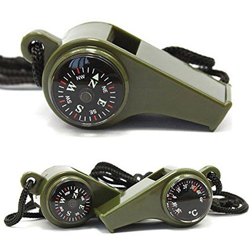 xMxDESiZ 3in1 ¨¹berlebensWhistle mit Kompass-Thermometer Wanderausfallgetriebe (Wasserkocher - / Zug-tee)