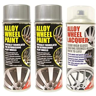 E-Tech 2 x Metallic Silver Alloy Wheel Paint and 1 x Lacquer Kit - Etech