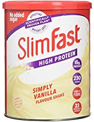 SlimFast High Protein Meal Replacement Shake Powder, Simply Vanilla, 438 g