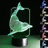 Art Deco Lampen, LED Nachtlampe der LED 3D Farbe die geführte Lichter, Kind-Raum Ausgangsdekoration-bestes Geschenk, Noten Kontroll Licht 7 Farben ändert USB angetriebene Schreibtisch Lampen (Delfin B)