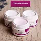 Veena 1Pcs Sparkle Clear Transparent Pink Three Colors Option Acrylic Crystal Powder Nail