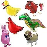 Globo - TOOGOO(R)6pzs Globos de animal caminando Decoracion de fiesta de cumpleanos Regalo de ninos - Incluyendo Conejo, Dinosaurio, Caballo, Pato, Pollo, Pequines