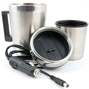 Mug isotherme de voyage avec branchement 12V gobelet mug électrique acier inox + plastique 0,35 litre
