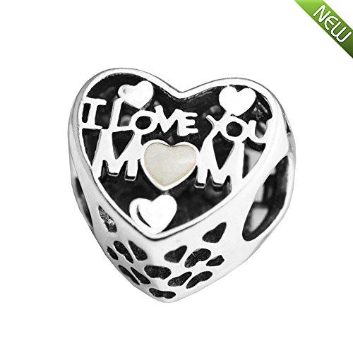 PANDOCCI 2017 Muttertag DIY passt für Pandora Charme Armbänder authentische 925 Sterling Silber Liebe für Mutter Charme Ich liebe dich Herz Perle DIY Schmuck
