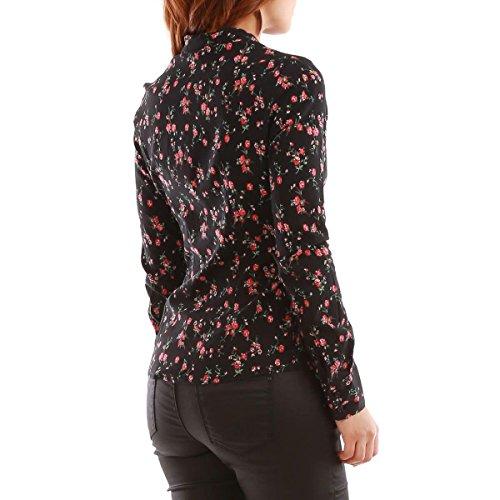 La Modeuse - Chemise motif floral avec manches longues Noir