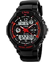 CIVO Mens Boys Digital Watches 50M Electronic Waterproof Military Sports Watch Simple Fashion Design LED Divers Watch for Men Big Face Electronics Light Analogue Digital Wrist Watch Black & Red