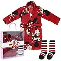 Minnie Mouse Set Caja Regalo: Batín y Calcetines Antideslizantes