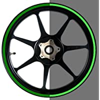 Reflective Green 16 to 19 inch Reflective Motorcycle, Scooter, Car & Truck Wheel Rim Stripes 5/16 inch or 8mm wide