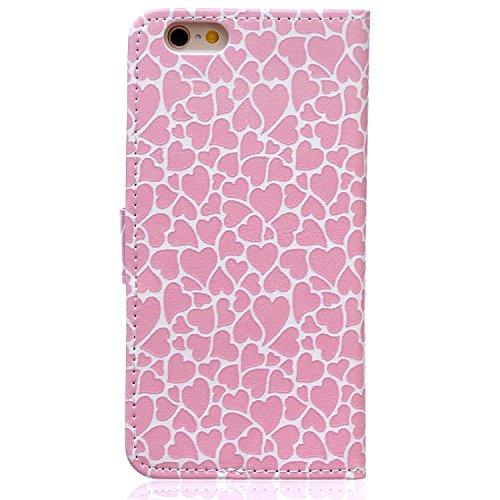 PU Cuir Coque Strass Case Etui Coque étui de portefeuille protection Coque Case Cas Cuir Swag Pour Apple iPhone 6/ iPhone 6S (4.7 pouces)+Bouchons de poussière (E5) 3
